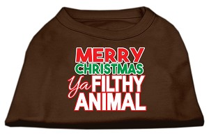 Ya Filthy Animal Screen Print Pet Shirt Brown Sm (10)